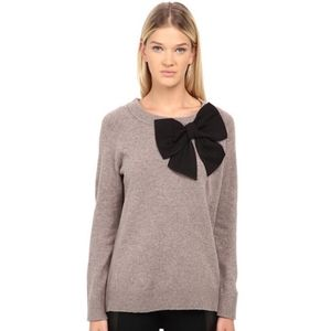 Kate Spade black bow sweater gray wool X-Small